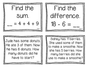 First Grade Depth of Knowledge {DOK} Operations & Algebraic Thinking Questions
