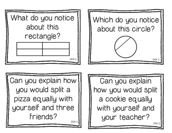 First Grade Depth of Knowledge {DOK} Telling Time & Fractions Questions