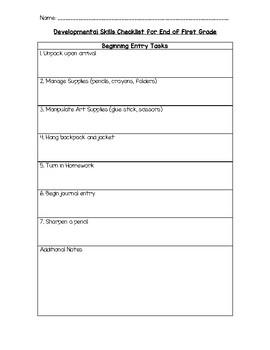 First Grade Developmental Checklist