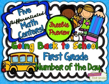 First Grade Differentiated Math Centers FREEBIE PREVIEW Nu