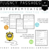 1st Grade Differentiated Reading Fluency Passages with Com