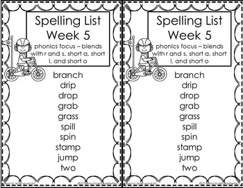 First Grade Differentiated Spelling Lists Unit 1 Bundle