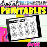 First Grade Digital Printables for June | SeeSaw Google or Print