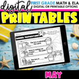 First Grade Digital Printables for May | SeeSaw Google or Print