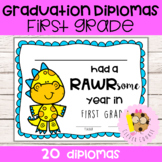 First Grade Dinosaur Graduation Diplomas and Certificates End of the Year