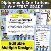 First Grade Diplomas, Certificates, Graduation Invitations Editable