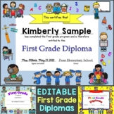 First Grade Diplomas, Certificates, Graduation Invitations Editable