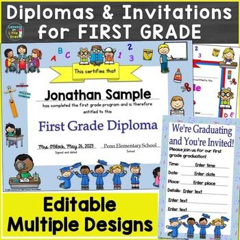Editable Diplomas, Certificates, Graduation Invitations First Grade