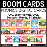 Phonics Boom Cards First Grade - CVC, CVCE, Blends, and Digraphs