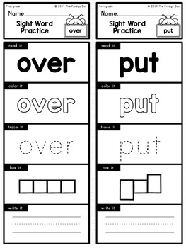 First Grade - Dolce Sight Words - Practice Strips