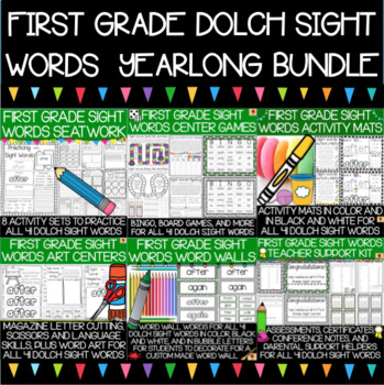 Dolch First Grade Sight Words Year-Long Activity Pack