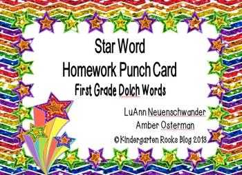 First-Grade Dolch High Frequency/Sight Words - Star Word Punch Cards