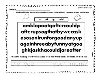 First Grade Dolch List Enrichment Activities