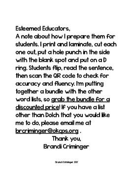 First Grade Dolch QR Code Sentences (fluency & accuracy)