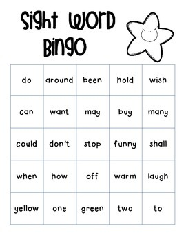 First Grade Dolch Sight Word Bingo
