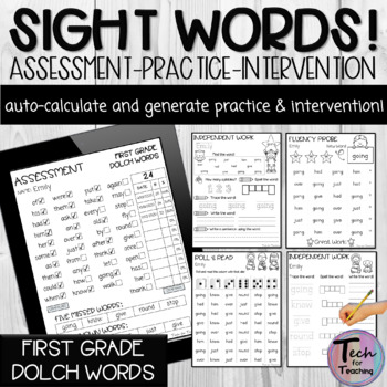 First Grade Dolch Sight Word PDF Form (Automatically Count