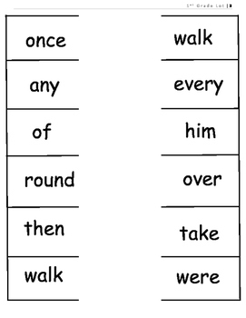 First Grade Dolch Sight Word Parking Lot Practice or Assessment