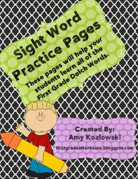 First Grade Dolch Sight Word Practice Sheets