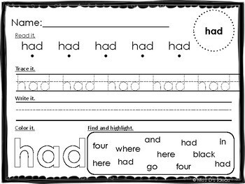 First Grade Dolch Sight Word Practice Worksheets