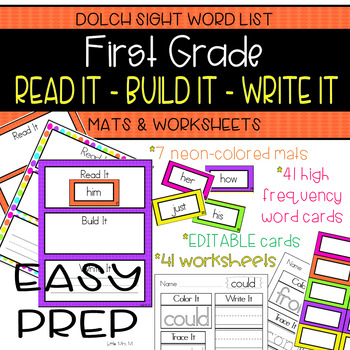 First Grade Dolch Sight Words: READ IT - BUILD IT - WRITE IT Mats & Worksheets