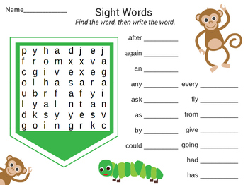 First Grade Dolch Sight Word Searches