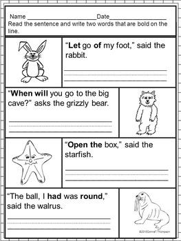 "Reading First Grade ""Sight Word Sentences"" (Worksheets)"