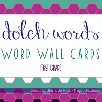First Grade Dolch Sight Word - Word Wall Cards