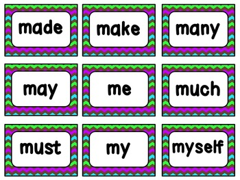 Dolch Sight Words Cards (complete list): Chevrons