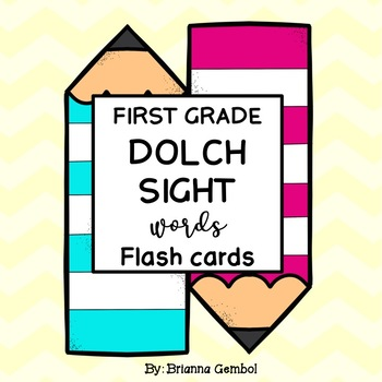 First Grade Dolch Sight Words Flash Cards