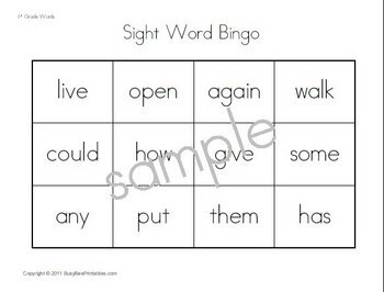 First Grade Dolch Sight Words Supplemental Unit