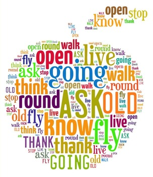First Grade Dolch Sight Words (Word Cloud - Apple Shape)