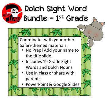 First Grade Bundle - Sight Words and Nouns in Safari / Jungle Theme