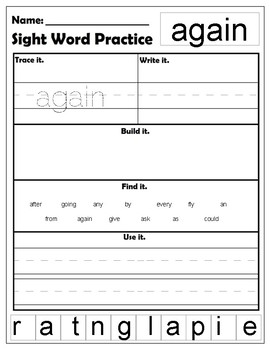 First Grade Dolch Sight Words worksheets