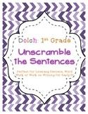 First Grade Dolch Unscramble the Sentences