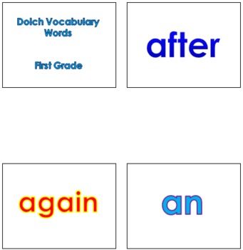 First Grade Dolch Vocabulary Sight Words PowerPoint and Flash Cards #1