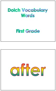 First Grade Dolch Vocabulary Sight Words PowerPoint and Flash Cards #2
