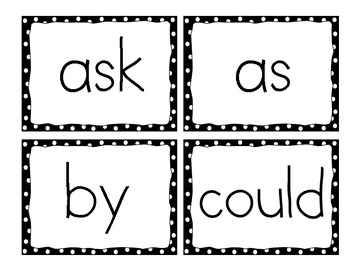 First Grade Dolch Word Cards