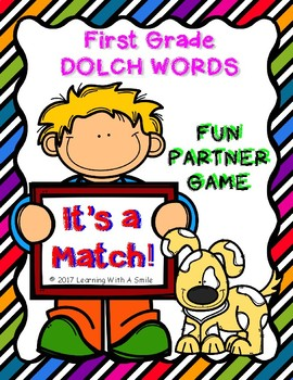 First Grade Dolch Word Game - IT'S A MATCH! - Fun Partner Game