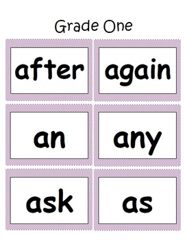 First Grade Dolch Word Card Set