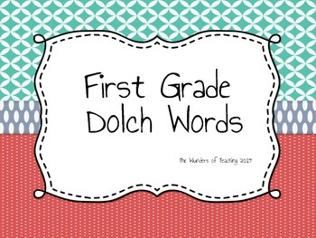 First Grade Dolch Word List: Assessment and Flash Cards