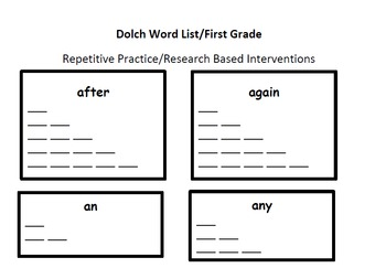 First Grade Dolch Word List Researched Based Interventions