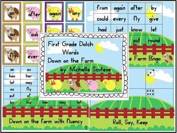 First Grade Dolch Words Down on the Farm