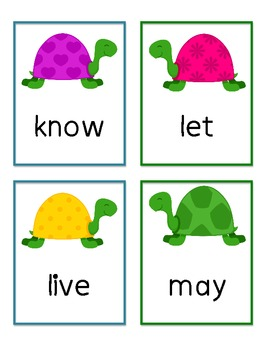 First Grade Dolch Words Flashcards - Turtles