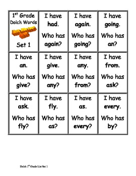 First Grade Dolch Words I Have, Who Has? Game - Set 1