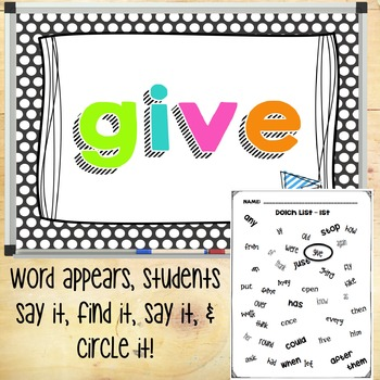 First Grade Dolch Words - Sight Word Hunt PowerPoint Game