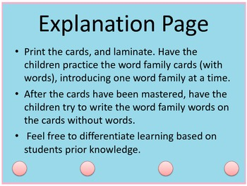 First Grade Dry Erase Word Family Cards