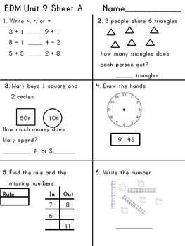 First Grade EDM Unit 9 Review Sheets
