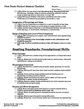 First Grade ELA CCSS + CA Student Mastery Checklist