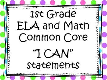 Common Core Standards Posters ELA and Math (1st grade 3 colors to choose from)