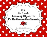 First Grade ELA Common Core Standards Kid Friendly Learnin